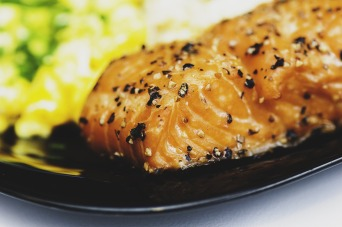 Freshly cooked salmon steak & salad.